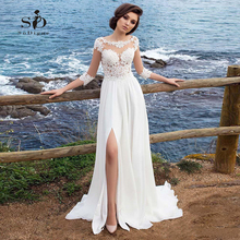 Beach Chiffon Wedding Dress Lace Appliques Simple A-line Slit Side Vestido De Novia Playa Bridal Gown vestidos de novia