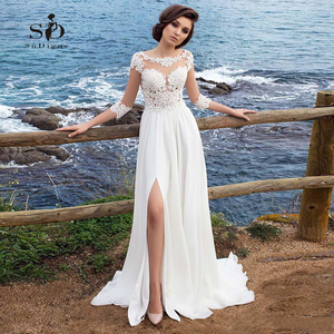 Image 1 - Beach Chiffon Wedding Dress Lace Appliques Simple Dress A line Slit Side Vestido De Novia Playa Bridal Gown vestidos de novia