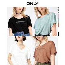ONLY 2019 Spring Summer New Women's Letter Print V-neckline Short-sleeved T-shirt |119101580 geo print v neckline kimono