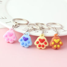 2019 Cute Cartoon Animal ornaments Cat Claw Key Chain Korean Craft Pendant Key Chain Small Pendant Key Chain Jewelry Gifts(China)