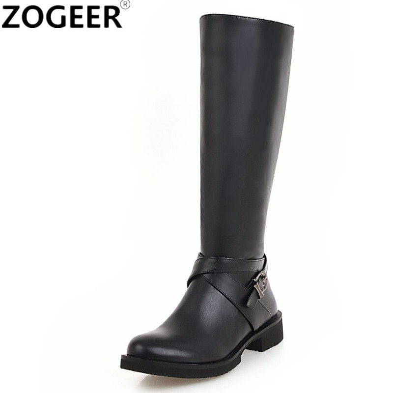 все цены на Plus Size 46 Autumn Winter Knee High Boots Low Heels Long Riding Boots Brand PU Leather Buckle Fashion Black White Shoes Woman