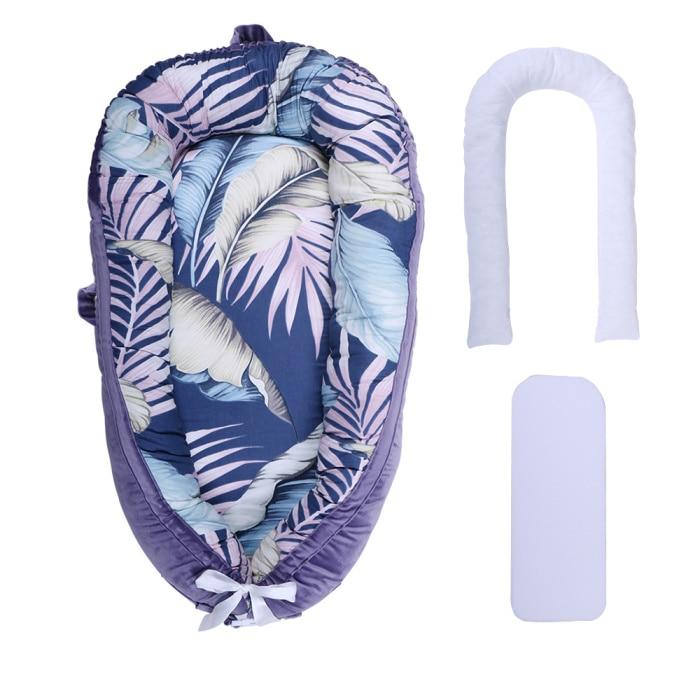 [Полностью разборный] детский шезлонг для новорожденного, двусторонняя переносная кроватка для сна - Цвет: Purple Leaf