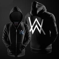 Alan Walker Themed Sweatshirts Mens Fleece Thicker Hoodie Winter Top Quality Coat Boys Black Gray XXL