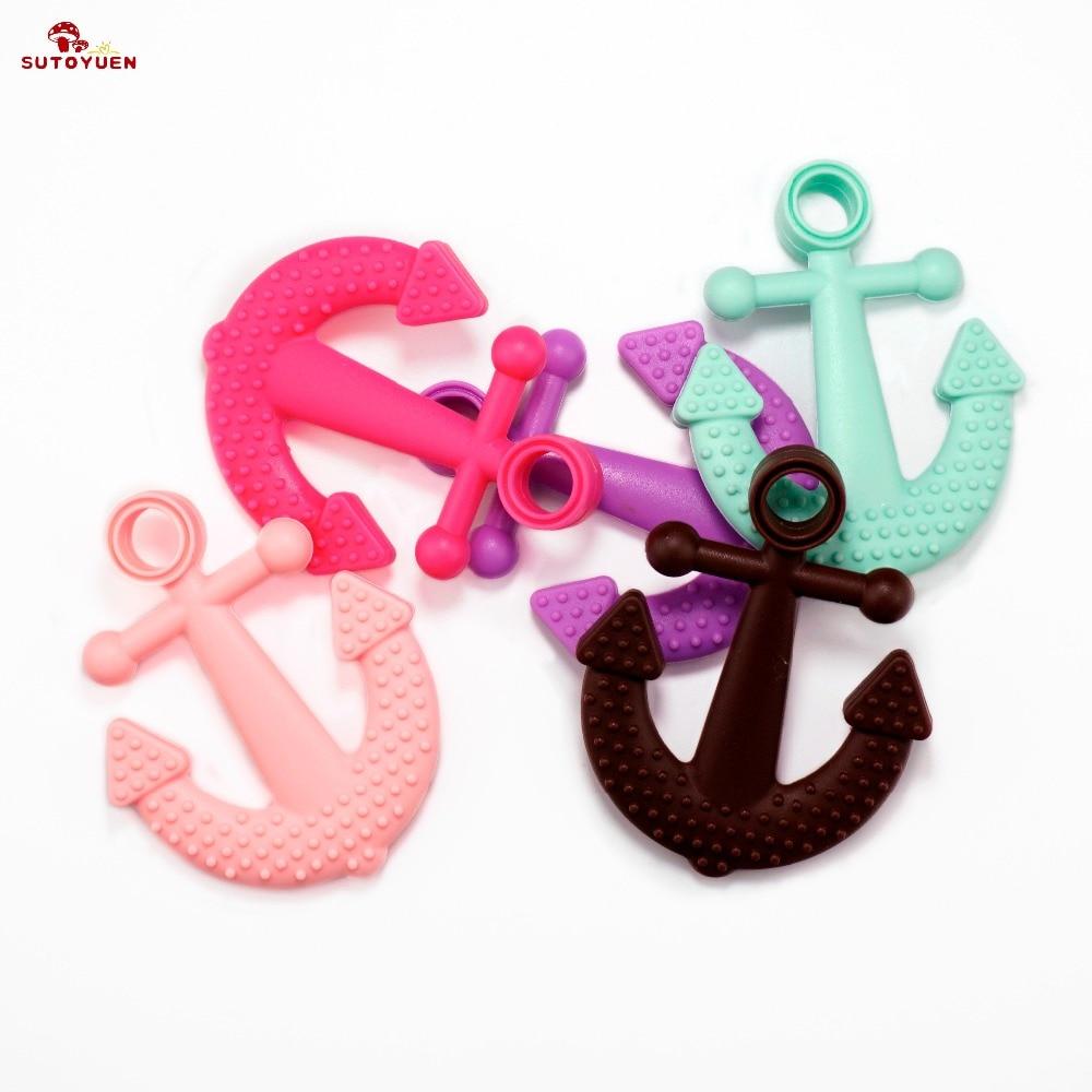 Sutoyuen силиконовые якорь Прорезыватель Soft BPA Бесплатно Прорезывание зубов Цепочки и ожерелья Кулон безопасной для ребенка, игрушка кормящим ...