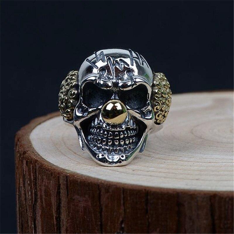 b701356b28 2019 V.YA Punk Silver Clown Skull Rings 925 Sterling Silver Male ...