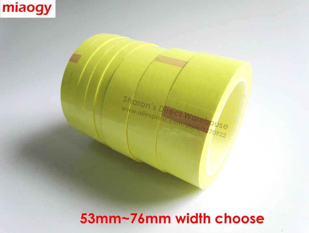 66Meters/roll, 53mm~76mm Wide Sticky Insulating Mylar Tape for Transformer, Motor, Capacitor, Power Coil Wrap, Yellow 2x 13mm width adhesive insulation mylar tape for transformer motor capacitor coil wrap anti flame black