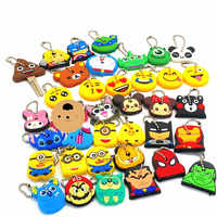 40Pcs/set Cute Cartoon Mickey Emoji The Avenger Silicone Keychain For Women/Man Key Cover Key Caps Key Ring Key Holder Kids Gift