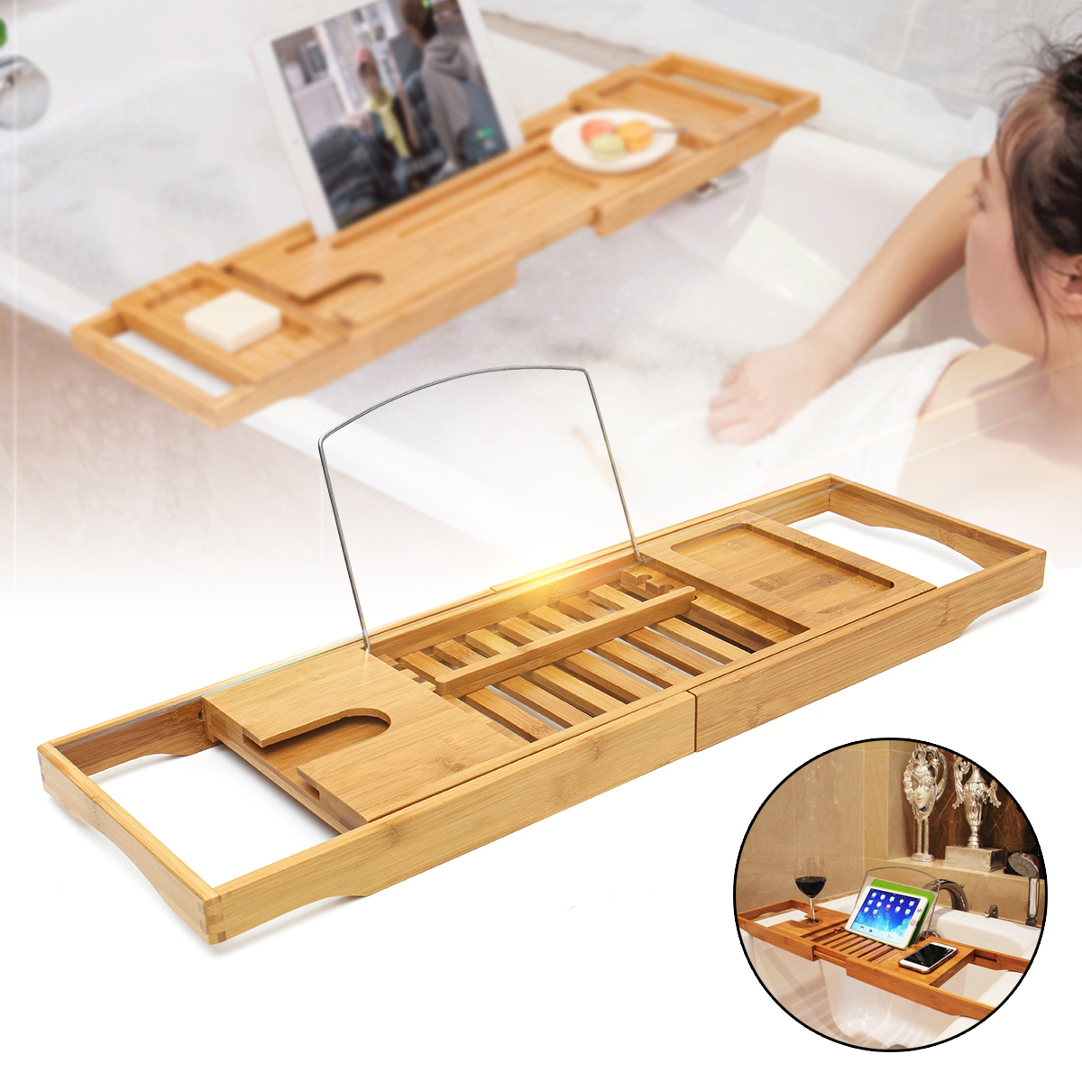 Luxury Bathroom Bamboo Bath Shelf Bath Tray Bathtub Holder Bridge Tub Caddy Tray Rack Wine Holder Bathtub Rack SupportLuxury Bathroom Bamboo Bath Shelf Bath Tray Bathtub Holder Bridge Tub Caddy Tray Rack Wine Holder Bathtub Rack Support