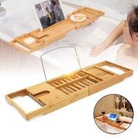 Luxury Bathroom Bamboo Bath Shelf Bath Tray Bathtub Holder Bridge Tub Caddy Tray Rack Wine Holder Bathtub Rack Support