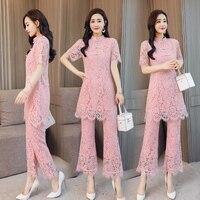Elegant Lace Two Piece Set Women's Summer Suit Pastel Women 2 Piece Set Top And Pants Ensemble Femme Deux Pieces Twinset
