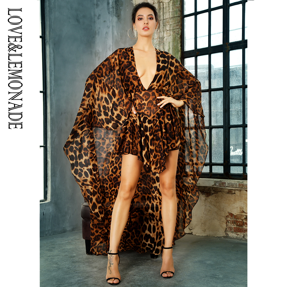 LOVE&LEMONADE  Deep V-Neck Open Back Cloak Style Leopard Chiffon Playsuit LM81381