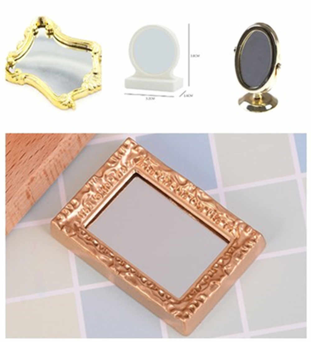 Newest 1/12 Scale Doll House Miniature Vintage Gloden Vanity Mini Mirror Dolls Bathroom Furniture Toy Accessories