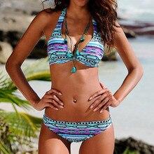 LIVA GIRL sexy women's print two-piece swimsuit fashion low-cut bikini suit push-up bra backless strap swimwear girl