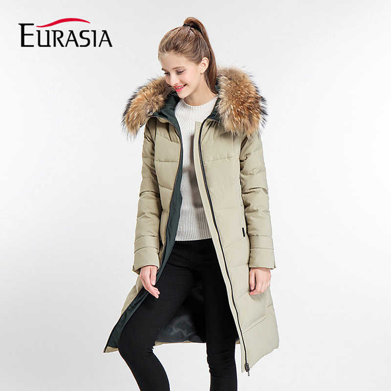 EURASIA Brands 2017 New Arrival Thick Full Mid-Long Women Winter Jacket Hood Design Warm Practical Parka Real Fur Coat Y170018
