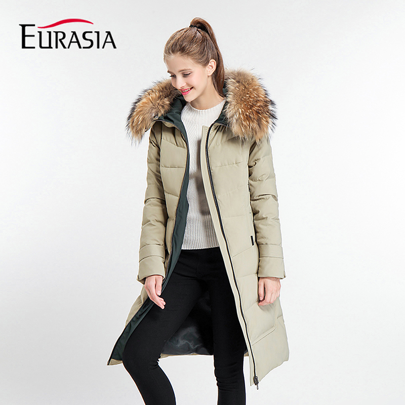 EURASIA Brands 2017 New Arrival Thick Full Mid-Long Women Winter Jacket Hood Design Warm Practical   Parka   Real Fur Coat Y170018