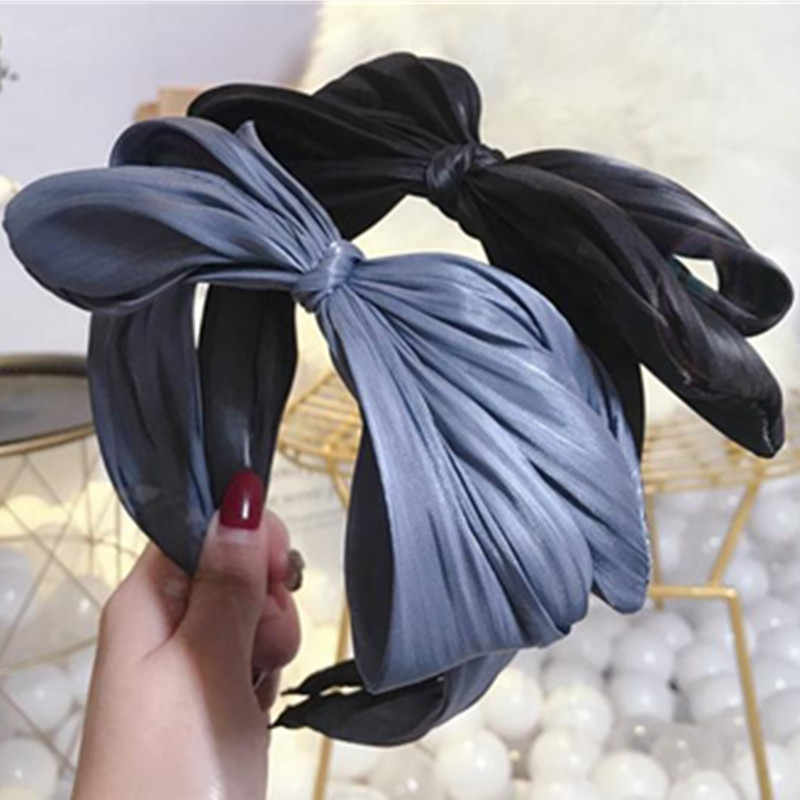 Big Hair Bow Headband for Women Headwear Solid Fabric Fold Bow Hairband Girls Lovely Bow Knotted Head Band Adults Bow Hairband