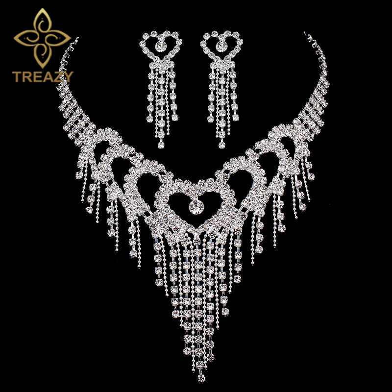 TREAZY Luxury Silver Color Crystal Choker Necklace Earrings Jewelry Set for Women Heart Tassels Bridal Wedding Jewelry Sets