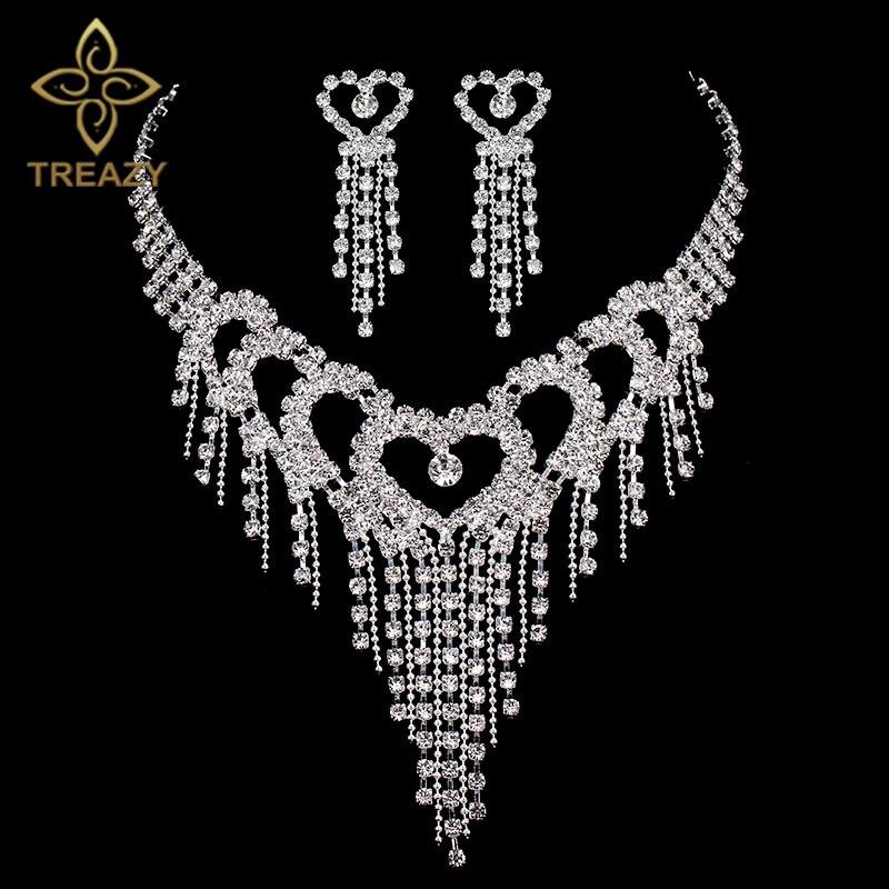 Schmuck & Zubehör Genossenschaft Treazy Luxus Silber Farbe Kristall Halskette Schmuck-set Für Frauen Herz Quasten Braut Hochzeit Schmuck-sets
