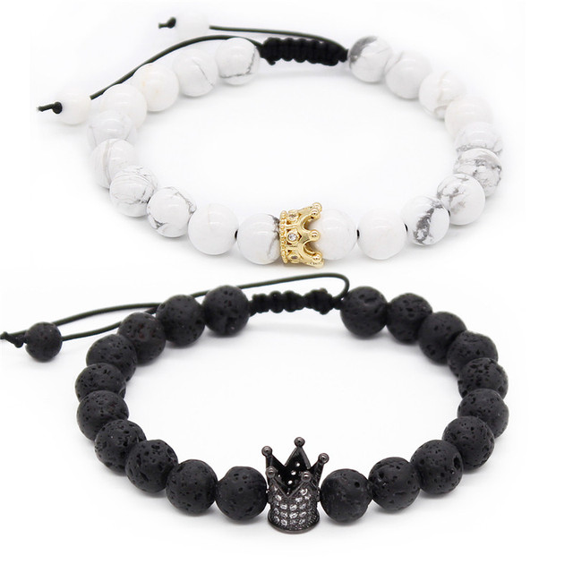 Poahfeel His And Hers Bracelets 8mm Black Matte White Beads Cz Crown King Bracelet