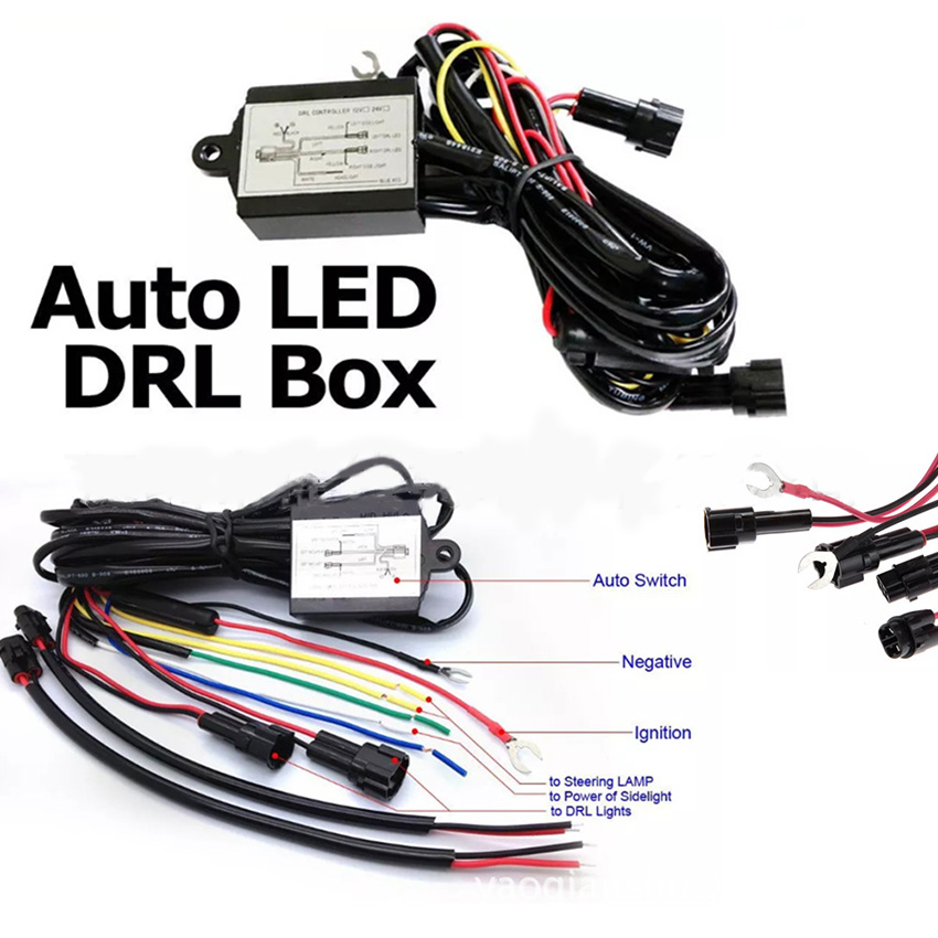 Universal LED Daytime Running Lamp Automatic ON/OFF Controller Module Box Relay Car DRL controller Delay off function led daytime running light drl relay harness automatic on off control box fog lamp cable 2pcs