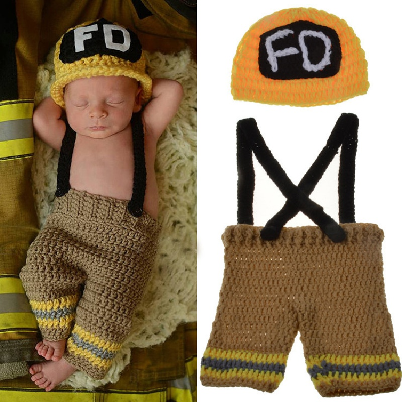 2016 Cute Newborn Baby Boys and Girls Crochet Knit Costume Firefighter Hat Photography Prop Outfits 2 Color Available newborn baby photography props infant knit crochet costume peacock photo prop costume headband hat clothes set baby shower gift