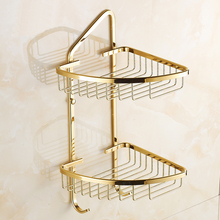 Dual Tier copper triangle basket bathroom shelves gold, European toilet storage rack shelf vintage, Antique Bathroom corner rack