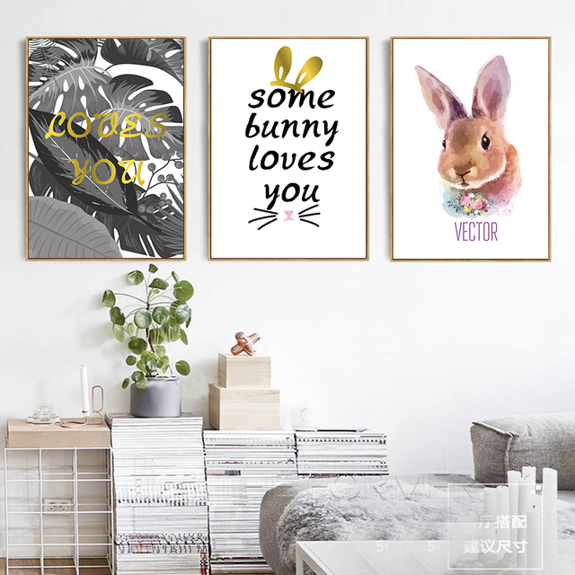 Us 3 92 44 Off Modern Cartoon Peter Rabbit Some Bunny Loves You Canvas Painting Study Room Office Foyer Mural Cafe Home Decor Print Poster In