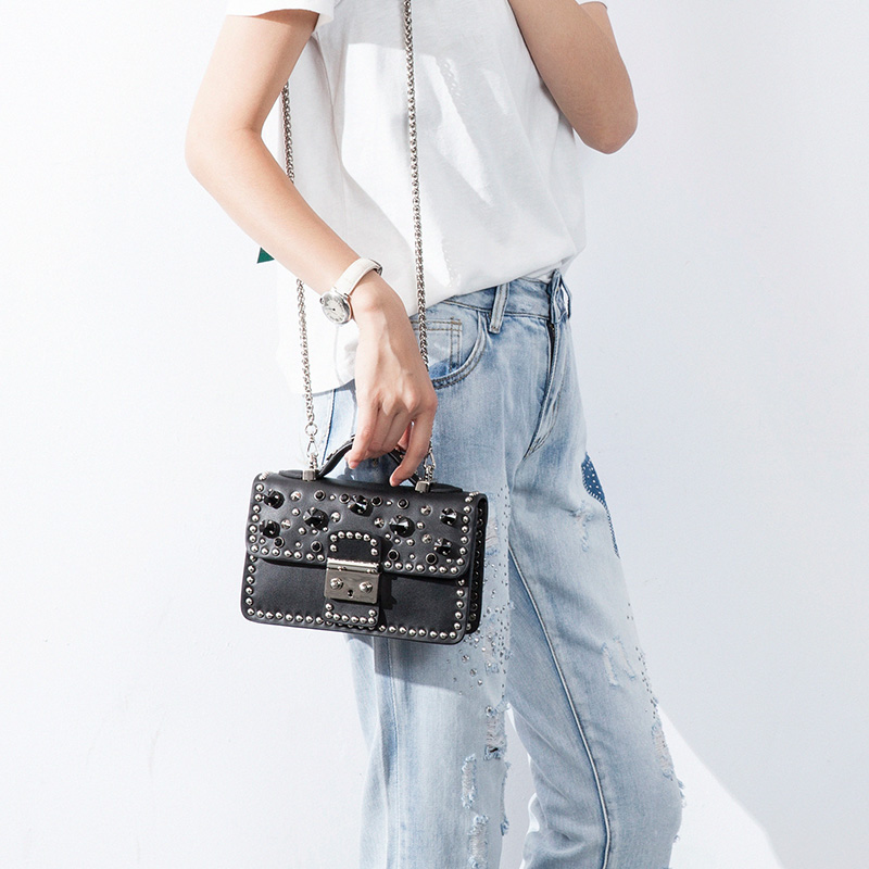 Vvmi woman shoulder bag crossbody bags split leather Rivet gem packages mini chain flap bag shoulder messenger bag mitya veselkov райский сад art