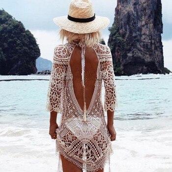 Knit Backless Bikini Cover Ups Beachwear