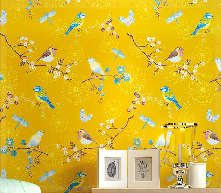 American Country Bright Yellow Bird Bedroom Study The Television Background Wall Pure Paper Wallpaper Cold Water In Wallpapers From Home Improvement On