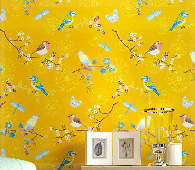 American Country Bright Yellow Bird Bedroom Study The Television Background Wall Pure Paper Wallpaper Cold Water