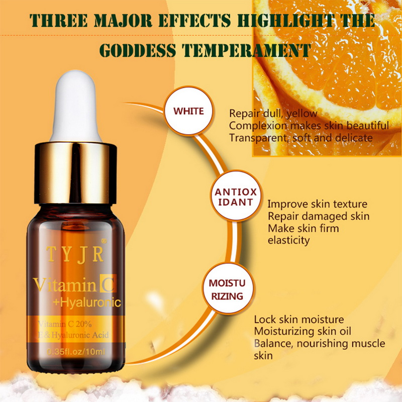 5bottle Face Serum Liquid Whitening Vitamin C+Hyaluronic Acid Face Essence Anti-aging Moisturizer Facial Stay Young Skin Care