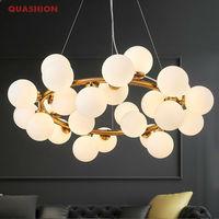 שעועית קסם מודרני אורות נברשת תליון לחדר אוכל סלון LED G4 זהב/שחור מנורת נברשת זכוכית לבנה גופי