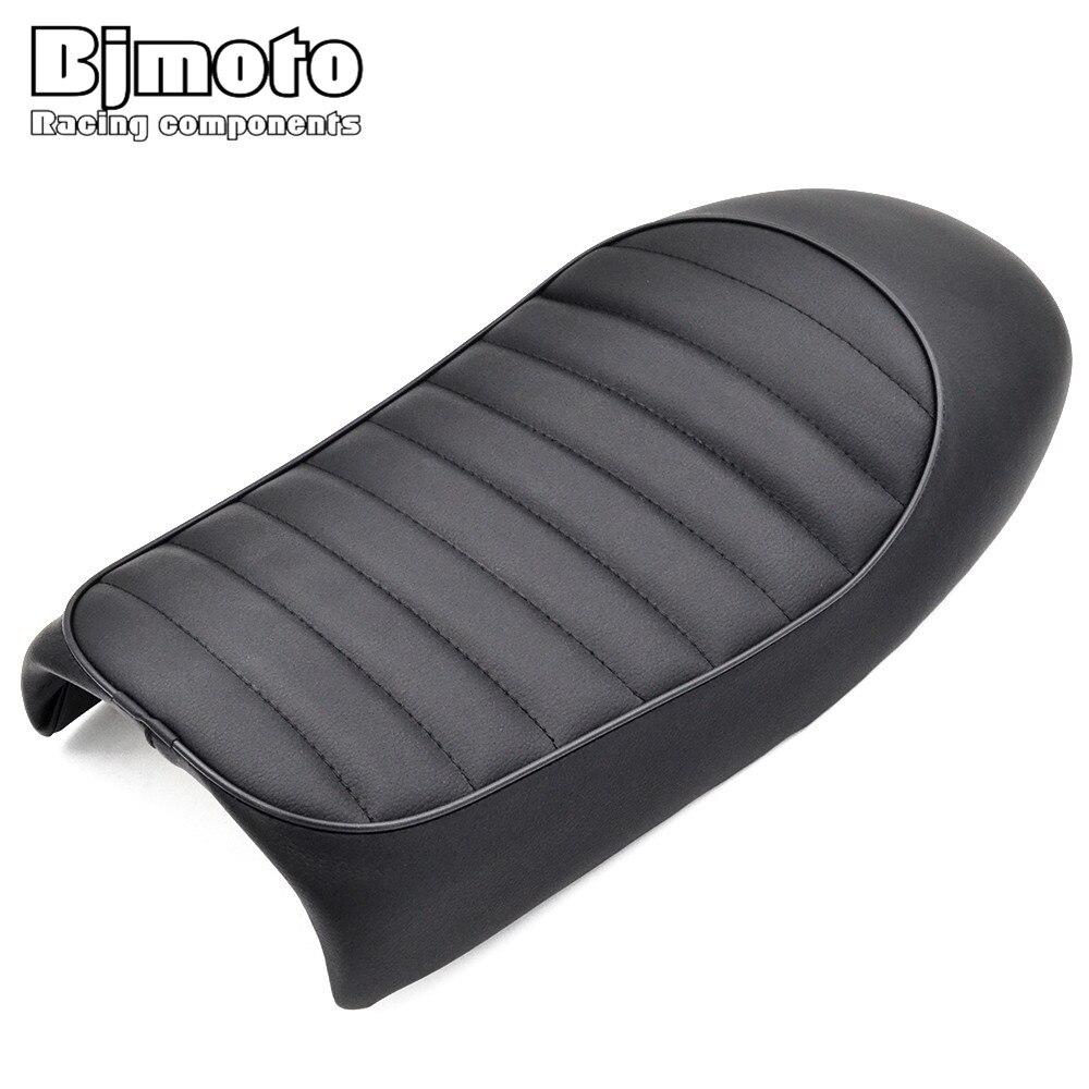 BJMOTO Black Retro Motorcycle Seat Hump Seat Cafe Racer Saddle Scramble Flat Pan For Honda CB350 CB400 CB500 CB750 SR400 XJ XS