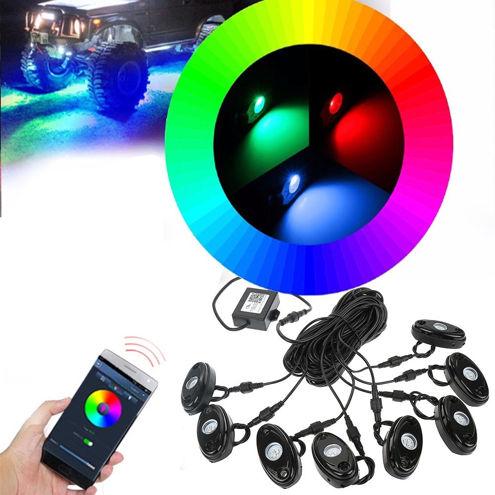 8х Блютуз под RGB вел рок свет светодиодный под автомобиль свет музыка мигающий многоцветный внедорожник для ДХО автомобиля джип грузовик автомобилей