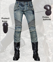 Free Shipping 2018 women Uglybros Featherbed jeans motorcycle protective pants racing jeans black moto pants size: 25 26 27