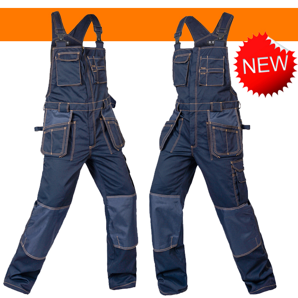 Bauskydd Men's cargo pocket work overall workwear Bib Overalls twill multi pocket working mechanic overalls free shipping все цены