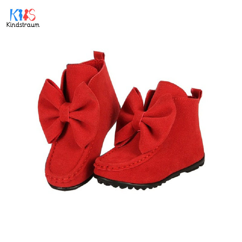 2017 Girl s Bowknot Boots Flat Autumn Spring Winter Children Princess Shoes Rubber Bottom Fashion Kids