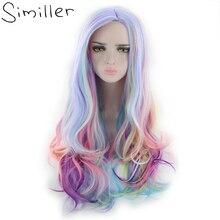Similler костюм на Хэллоуин парики для женщин многоцветный длинный кудрявый синтетический парик вечерние Косплей Высокая температура волокна волос 24 дюймов