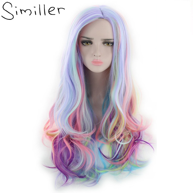 Similler Halloween Costume Wigs For Women Multicolor Long Curly Synthetic Wig Party Cosplay High Temperature Fiber Hair 24inch