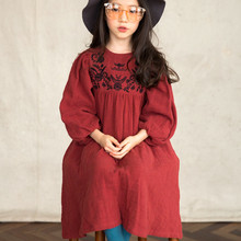 girl embroidered flowers retro dress autumn red loose cotton linen lantern sleeve dresses 4-9Yrs kids dress children clothing flower embroidered lantern sleeve dress