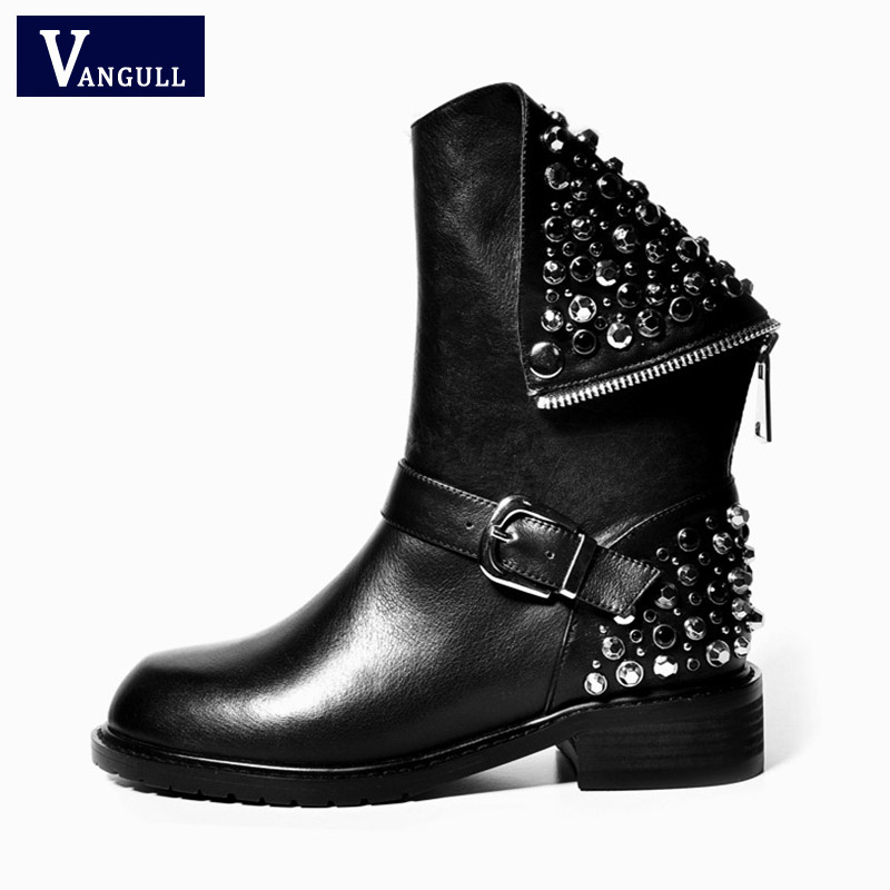цена на Genuine Leather Boots Rivet Square Heels Autumn Winter Ankle Boots Sexy fashion Martin Fur Snow Boots Shoes Woman big Size 34-43