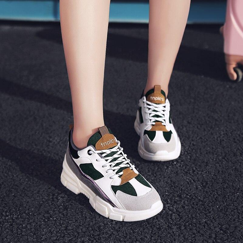 automne Épais 2018 Chaussures Orthographe Black Joker Coréenne Papa Femelle Célébrité Printemps Web Baskets green Fond Casual red Version 5 Nouveau Couleur Style Aw4g5qw