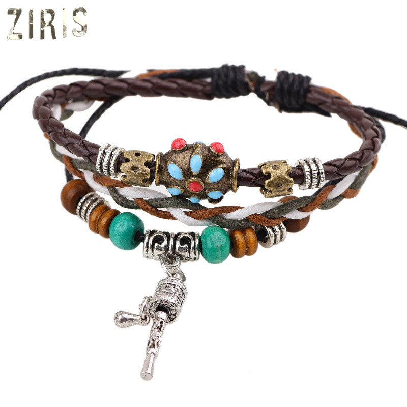 ZIRIS new style Europe and America manual hide rope intertexture hand chain a string of beads women hand chain