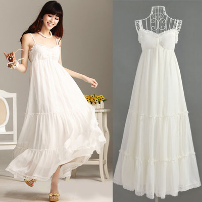Maternity clothing elegant summer lace chiffon spaghetti strap decoration one-piece dress bohemia full maternity dress beach maternity clothing spring twinset lace fairy princess wedding one piece dress white embroidery dress full dress summer