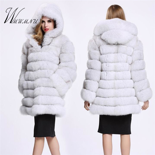 Elegant Faux Fox Fur Coat Women Winter casual Warm Luxury Fake Fur coat 2018 Fashion fluffy Coats Female Hooded Jacket Overcoat 3