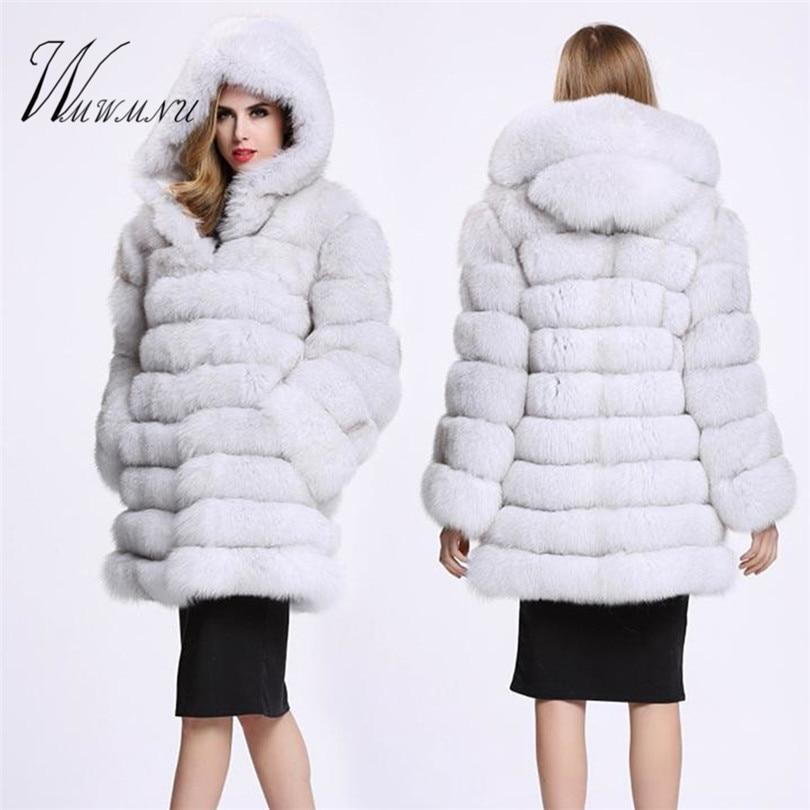 Elegant Faux Fox Fur Coat Women Winter casual Warm Luxury Fake Fur coat 2018 Fashion fluffy Coats Female Hooded Jacket Overcoat