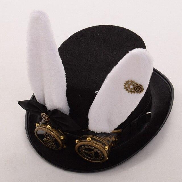 Шляпа в стиле стимпанк с очками кролик 2