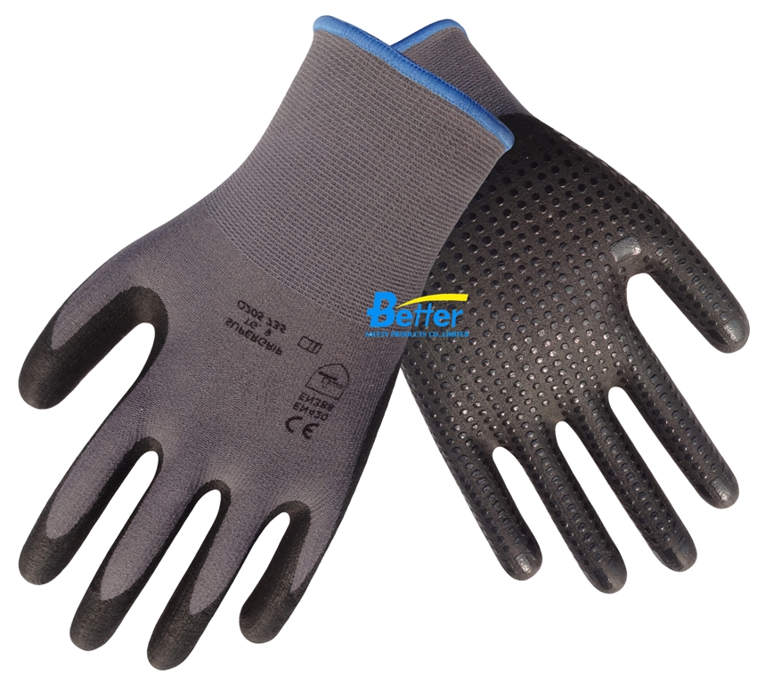 4 Pairs Gardening Work Glove Nylon Working Gloves With Nitrile Palm Foam Dipped Safety Glove