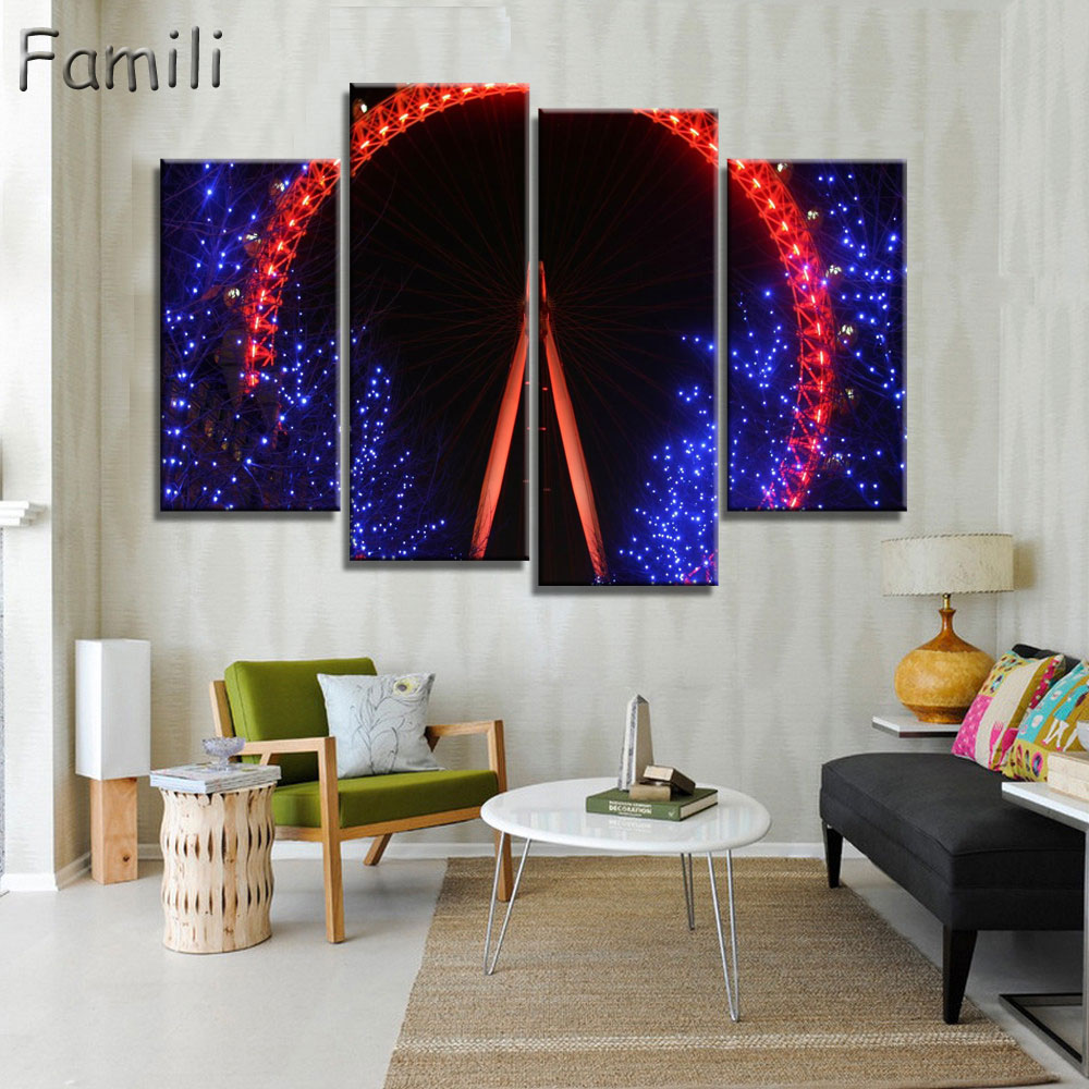4 Piece Hot Sell Modern City Wall London eyes number by Oil Painting Abstract Home Decorative Art Picture Paint on Canvas Prints